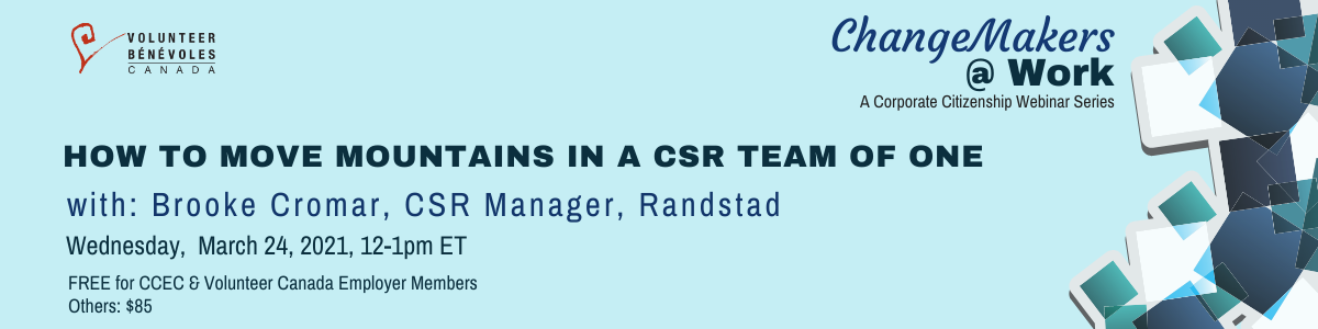 Webinar : How to move mountains in a CSR team of one