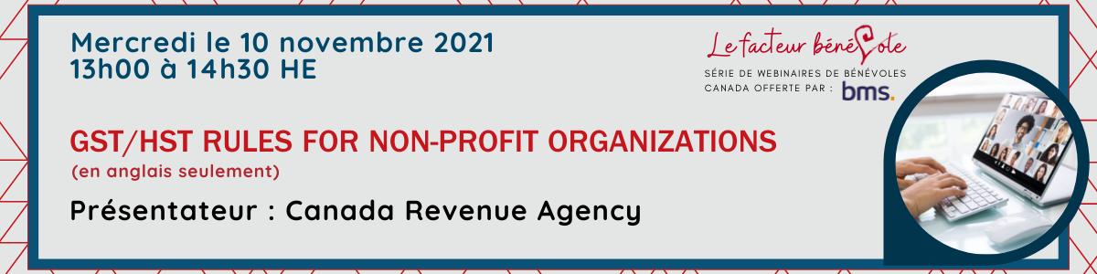 Webinar:  GST/ HST Rules for Non-profit organizations