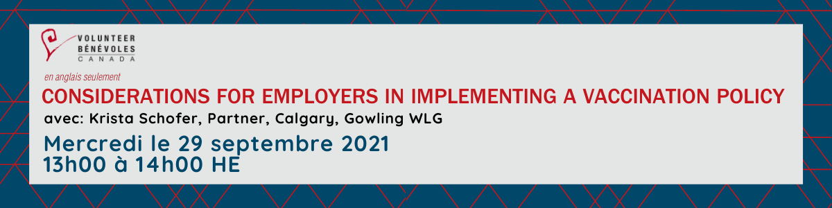Webinaire en anglais seulement : Considerations for employers in implementing a vaccination policy